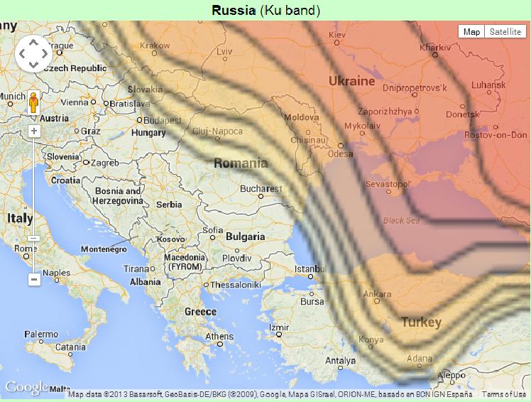 Карта на покритие на слабите транспондери на Триколор ТВ
