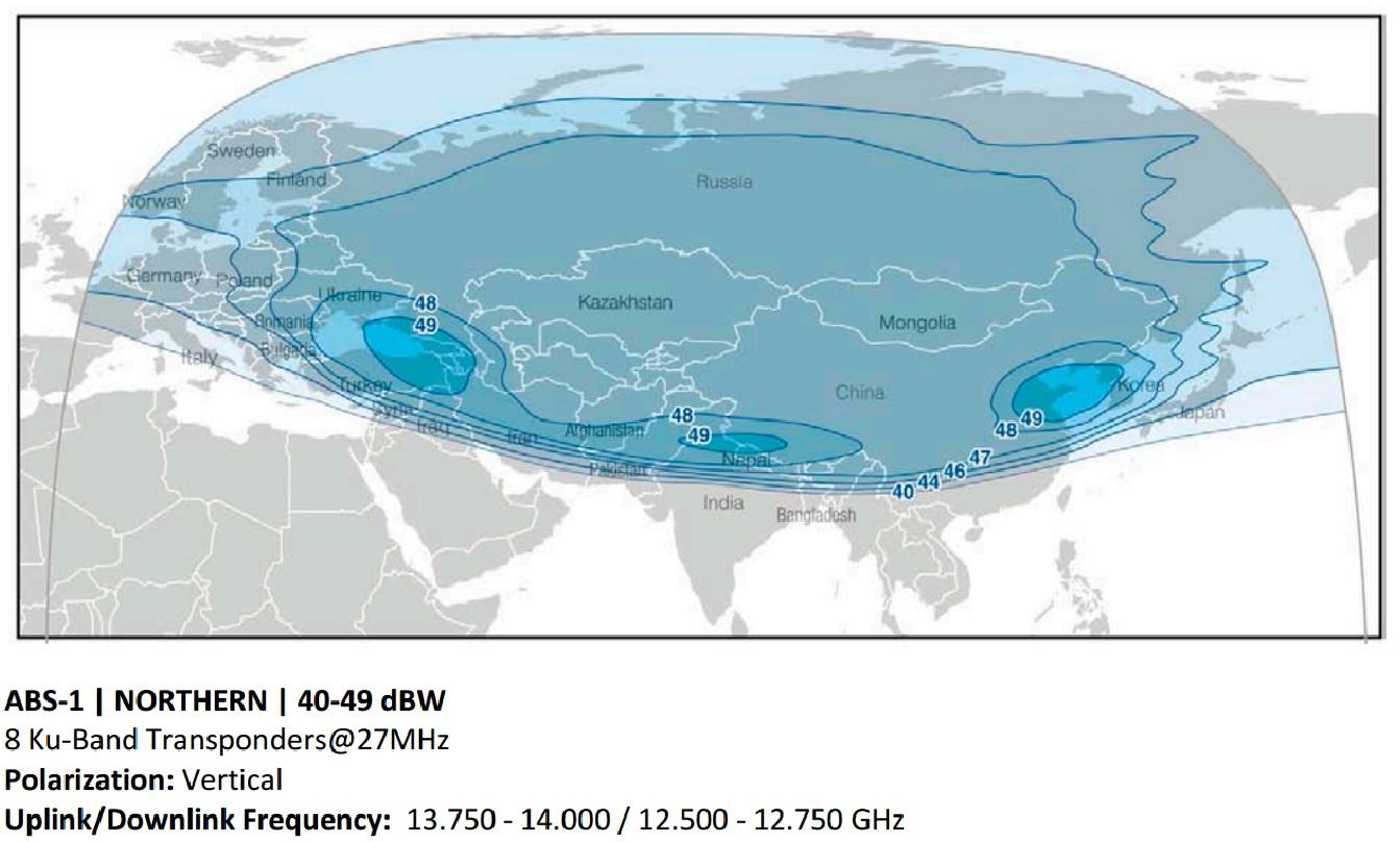 Карта сигнала Радуги ТВ – спутник ABS-1 75Е