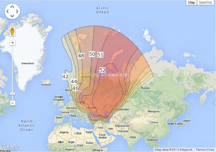 Карта сигнала Триколора ТВ